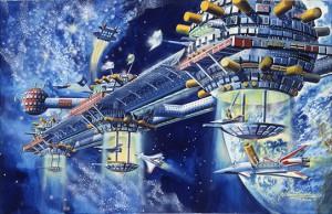 小松崎茂《宇宙コロニーⅡ》1980年/紙、水性絵具/個人蔵
