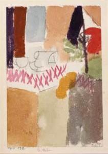 パウル・クレー《ドイツ国旗のある朝食》1914年 水彩 公益財団法人大川美術館