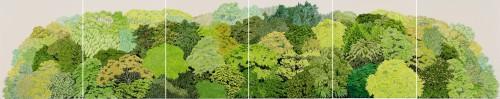 吉田夏奈《FACE TO THE GREEN》2013年 クレヨン、オイルパステル、紙 各110×93.5cm 作家蔵 撮影:早川宏一